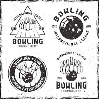 Conjunto de emblemas vintage para boliche