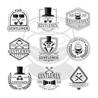 Conjunto de emblemas vintage para cavalheiros