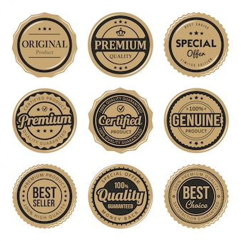 Conjunto de emblemas vintage premium certificados e etiquetas