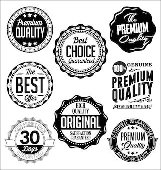 Conjunto de emblemas vintage preto e branco