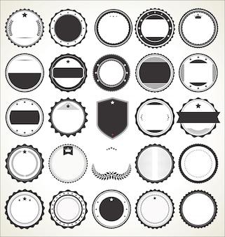 Conjunto de emblemas vintage retrô em branco