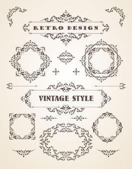 Conjunto de emblemas vintage retro, quadros, etiquetas e fronteiras.