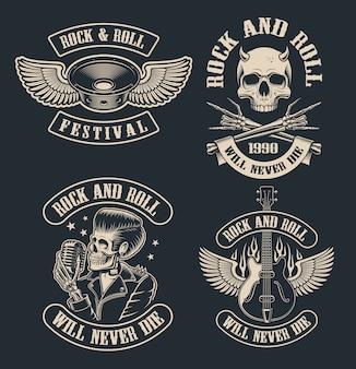 Conjunto de emblemas vintage rock and roll em fundo escuro. perfeito para a camisa se muitos outros. o texto está no grupo separado.