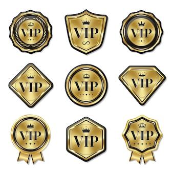 Conjunto de emblemas vip dourados de luxo