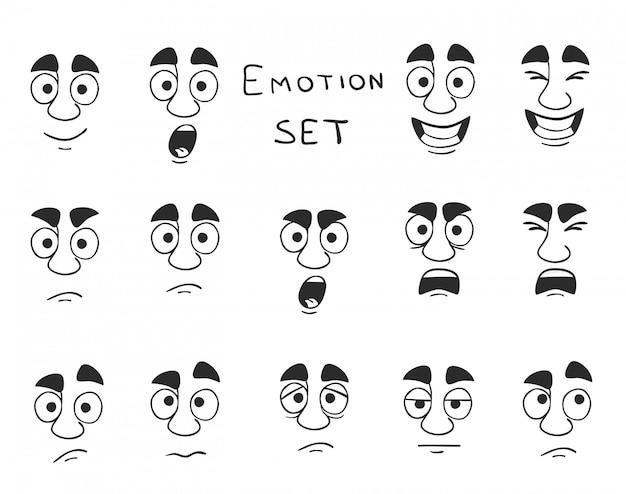 Conjunto de emoções avatar facial