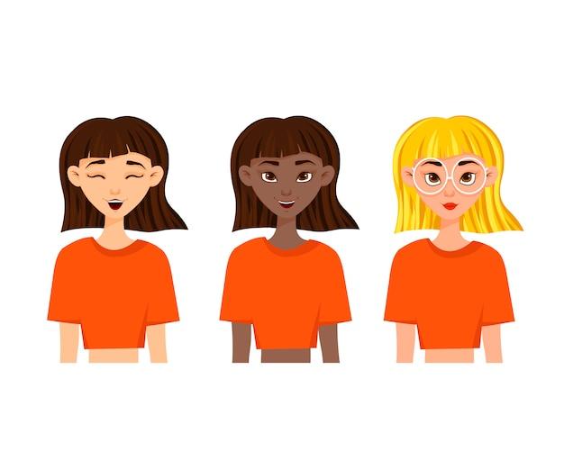 Conjunto de emoções da mulher. expressão facial. avatar de menina ilustração em vetor de um design plano.