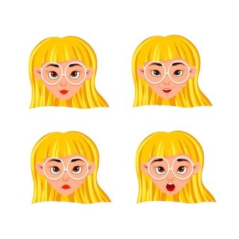 Conjunto de emoções da mulher. expressão facial.