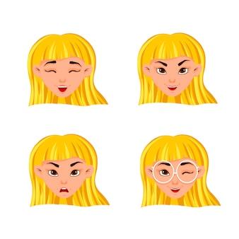 Conjunto de emoções da mulher