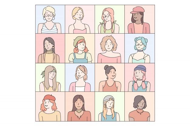 Conjunto de emoções das mulheres na moda