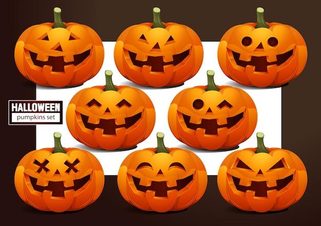 Conjunto de emoções de abóboras de halloween.