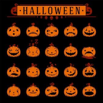Conjunto de emoções de abóboras de halloween