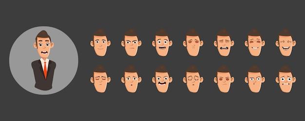 Conjunto de emoções de avatares plana de homem de negócios
