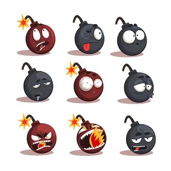 Conjunto de emoções de bomba de desenho animado