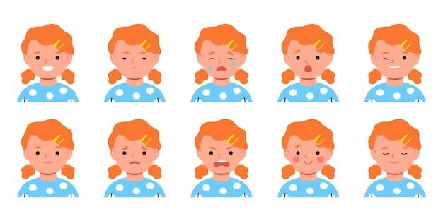 Conjunto de emoções de crianças expressão facial avatar de menina plana ilustração em vetor de personagem plana de criança