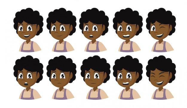 Conjunto de emoções de garota africana.