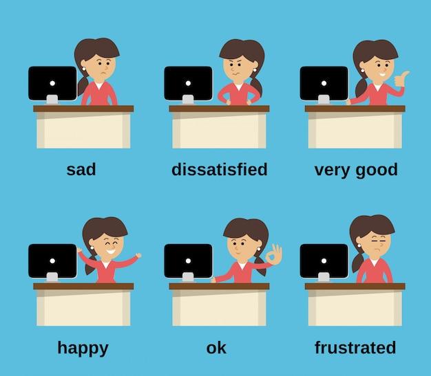 Conjunto de emoções de trabalho de empresária