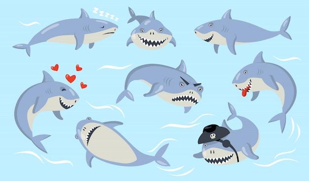 Conjunto de emoções diferentes de tubarão de desenho animado