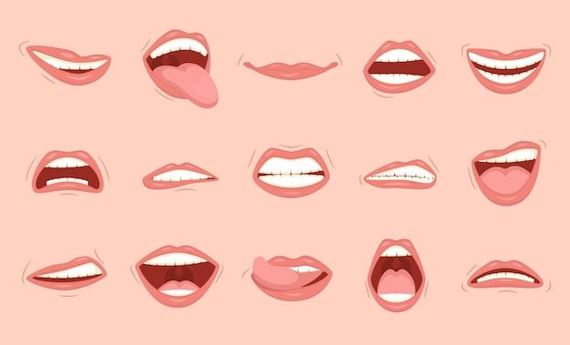 Conjunto de emoções diferentes em desenhos animados de lábios femininos em um fundo de cor de pele clara