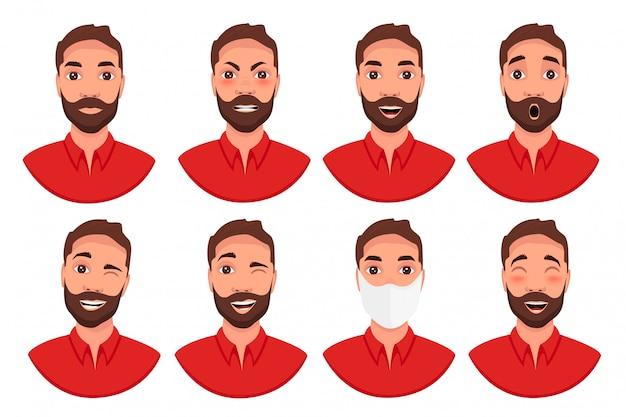 Conjunto de emoções diferentes personagem masculino.