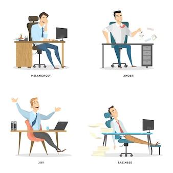 Conjunto de emoções do escritório.