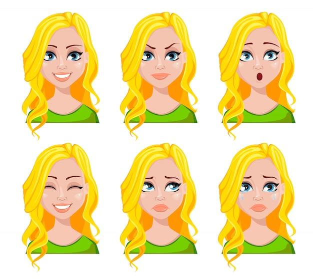 Conjunto de emoções femininas diferentes