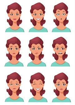 Conjunto de emoções femininas diferentes.