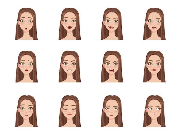 Conjunto de emoções femininas