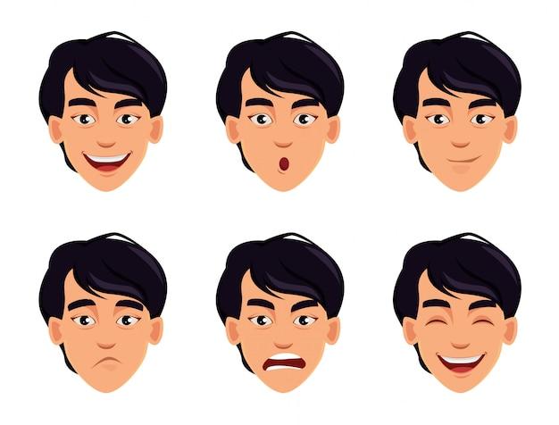 Conjunto de emoções masculinas diferentes.