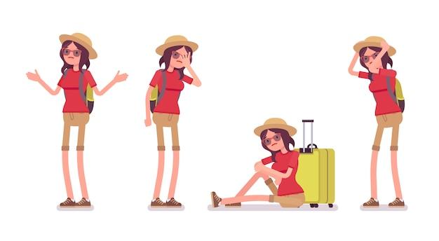 Conjunto de emoções negativas de mulher turista