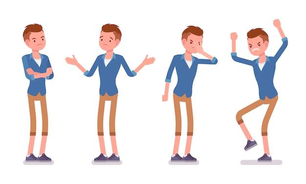 Conjunto de emoções negativas milenares masculinas