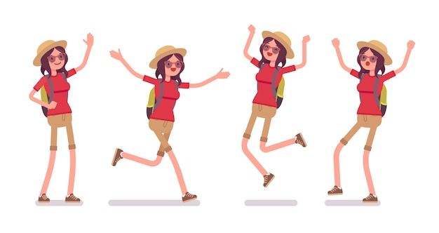 Conjunto de emoções positivas de mulher turista