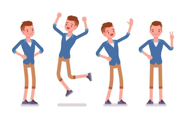 Conjunto de emoções positivas milenares masculinas