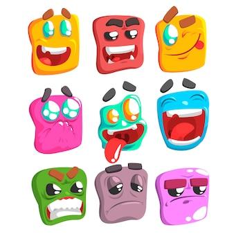 Conjunto de emoji colorido de rosto quadrado