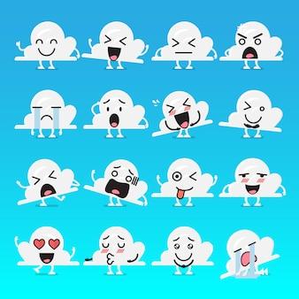 Conjunto de emoji de caractere de nuvem