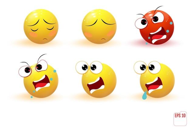 Conjunto de emoji de emoções amarelas