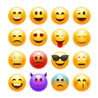Conjunto de emoji de emoticons de vetor.