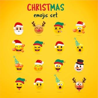 Conjunto de emoji de natal. conjunto de férias de ícones de rosto de natal com emoções diferentes. estilo 3d