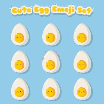 Conjunto de emoji de ovo cozido fofo