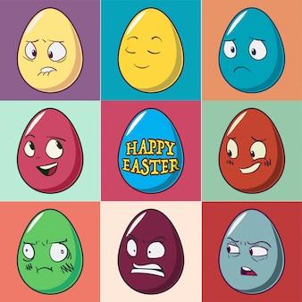 Conjunto de emoji de ovos de páscoa