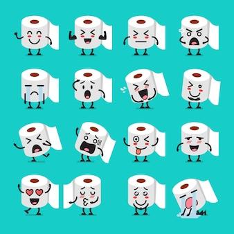 Conjunto de emoji de papel de seda