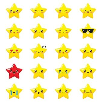 Conjunto de emoji estrela bonito dos desenhos animados. coleção de vetores de emoticons diferentes