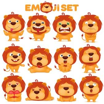 Conjunto de emoji leão gato personagem de desenho animado