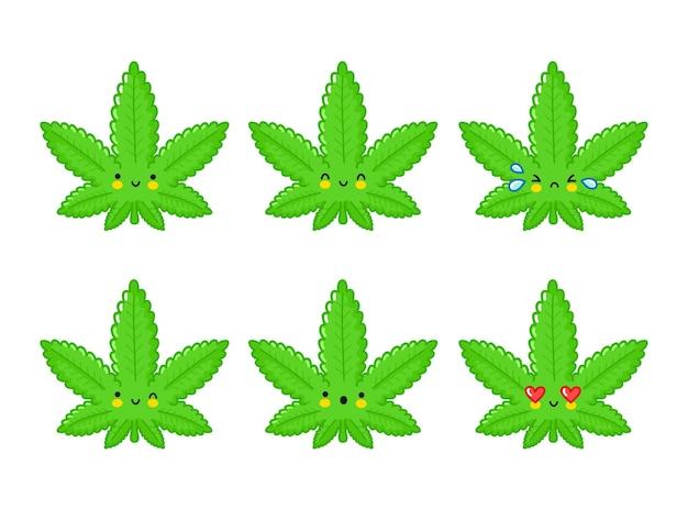 Conjunto de emoji personagem fofo engraçado feliz erva daninha folha de maconha. linha plana ícone de ilustração de personagem kawaii dos desenhos animados. isolado no fundo branco. cannabis medicinal, erva daninha, conceito de emoticon de personagem