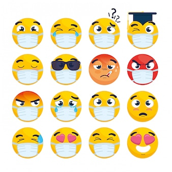 Conjunto de emoji vestindo máscara médica, rostos amarelos com uma máscara cirúrgica branca, ícones para surto de coronavírus