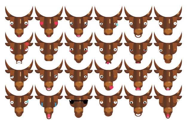 Conjunto de emojis, caras de touro, cabeças de vacas felizes e sorridentes, sinais de emoção isolada