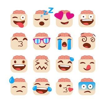 Conjunto de emojis engraçados com cara de zumbi