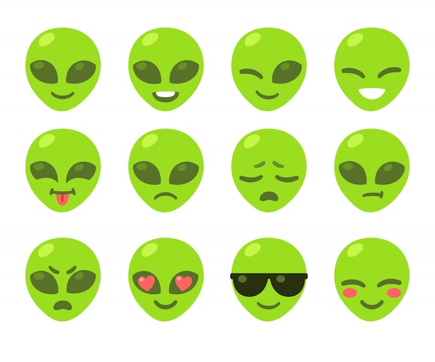 Conjunto de emoticon alienígena