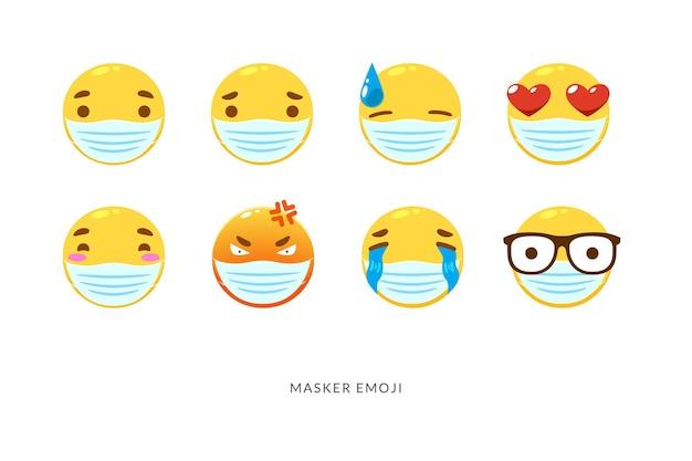 Conjunto de emoticon amarelo smiley com a máscara. ilustração vetorial