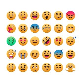 Conjunto de emoticon de sorriso fofo