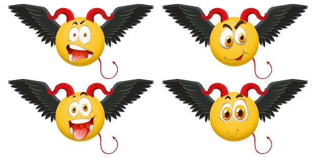 Conjunto de emoticon do diabo com expressão facial